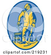 Royalty Free RF Clipart Illustration Of A Retro Fireman With An Anchor Logo by patrimonio