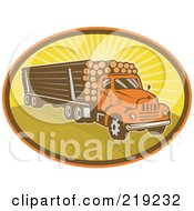 Royalty Free RF Clipart Illustration Of A Retro Logging Truck Logo by patrimonio