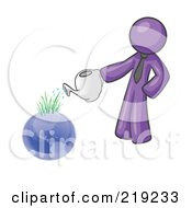 Purple Man Using A Watering Can To Water New Grass Growing On Planet Earth Symbolizing Someone Caring For The Environment