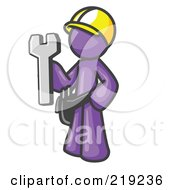 Clipart Illustration Of A Proud Purple Construction Worker Man In A Hardhat Holding A Wrench Clipart Illustration