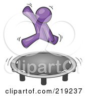 Royalty Free RF Clipart Illustration Of A Purple Man Jumping On A Trampoline
