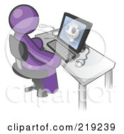 Clipart Illustration Of A Purple Doctor Man Sitting At A Computer And Viewing An Xray Of A Head