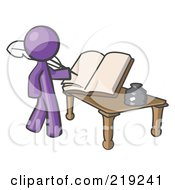 Royalty Free RF Clipart Illustration Of A Purple Man Author Writing History On Blank Pages Of A Book