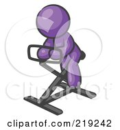 Clipart Illustration Of A Purple Man Exercising On A Stationary Bicycle