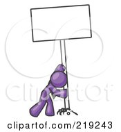 Clipart Illustration Of A Strong Purple Man Pushing A Blank Sign Upright