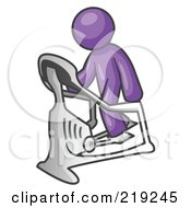Royalty Free RF Clipart Illustration Of A Purple Man Exercising On A Stair Climber During A Cardio Workout In A Fitness Gym