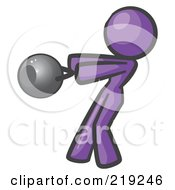Purple Woman Design Mascot Working Out With A Kettle Bell
