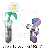 Purple Man Scientist By A Giant White Daisy Flower In A Test Tube