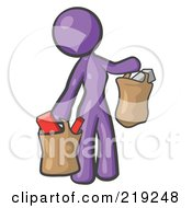 Purple Woman Carrying Paper Grocery Bags