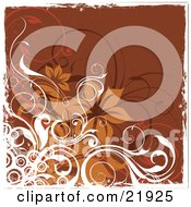 Clipart Picture Illustration Of White Orange And Brown Circles Vines And Flowers Over A Brown Background