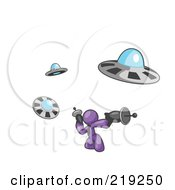 Clipart Illustration Of A Purple Man Fighting Off UFOs With Weapons by Leo Blanchette