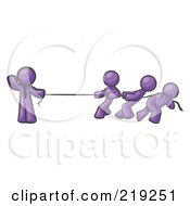 Strong Purple Man Holding One End Of Rope While Three Others Pull On The Other Side During Tug Of War by Leo Blanchette