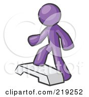 Clipart Illustration Of A Purple Man Doing Step Ups On An Aerobics Platform While Exercising