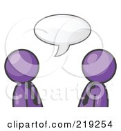 Clipart Illustration Of Two Purple Businessmen Having A Conversation With A Text Bubble Above Them