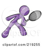 Clipart Illustration Of A Purple Woman Preparing To Hit A Tennis Ball With A Racquet