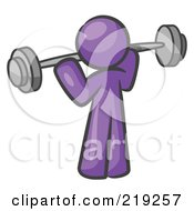 Clipart Illustration Of A Purple Man Lifting A Barbell While Strength Training