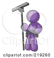 Clipart Picture Illustration Of A Purple Man Window Cleaner Standing With A Squeegee by Leo Blanchette