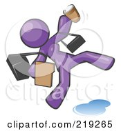 Royalty Free RF Clipart Illustration Of An Overwhelmed Purple Woman Slipping On A Puddle Of Water