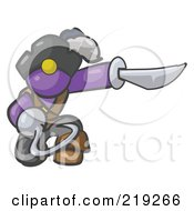 Royalty Free RF Clipart Illustration Of A Kneeling Purple Man Pirate With A Hook Hand And A Sword by Leo Blanchette