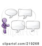 Clipart Illustration Of A Purple Businessman With Four Different Word Bubbles