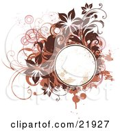 Clipart Picture Illustration Of A Grunge Splattered Blank Circle Text Spce With Brown Pink And Orange Viens Circles Splatters And Flowers On A White Background