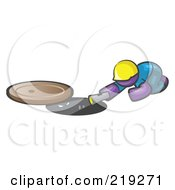 Royalty Free RF Clipart Illustration Of A Purple Man Design Mascot Sewer Worker Shining A Flashlight Down A Man Hole by Leo Blanchette