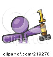 Clipart Illustration Of A Proud Purple Business Man Holding Up A First Place Trophy
