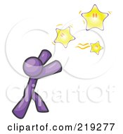 Royalty Free RF Clipart Illustration Of A Purple Man Reaching For The Stars by Leo Blanchette