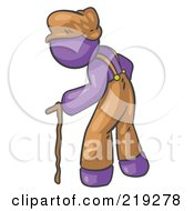 Poster, Art Print Of Old Senior Purple Man Hunched Over And Walking With The Assistance Of A Cane
