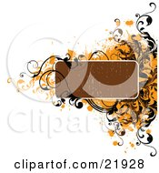 Clipart Picture Illustration Of A Grungy Brown Text Box With Orange And Black Vines And Splatters On A White Background