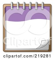 Clipart Illustration Of A Purple And White Spiral Notebook Organizer Ready For Notes