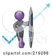 Clipart Illustration Of A Purple Lady In A Gray Dress Standing With A Giant Pen In Front Of A Blue Check Mark