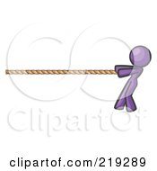 Purple Design Mascot Woman Tugging On A Rope