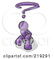 Clipart Illustration Of A Confused Purple Business Man With A Questionmark Over His Head