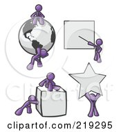 Royalty Free RF Clipart Illustration Of Purple Men With A Globe Presentation Board Cube And Star by Leo Blanchette