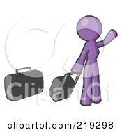Purple Woman With Luggage Waving For A Taxi