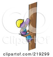 Royalty Free RF Clipart Illustration Of A Purple Man Design Masccot Worker Climbing A Phone Pole