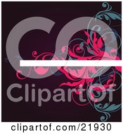 White Line For Text With Pink And Blue Vines Over A Red Background