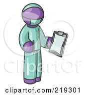 Clipart Illustration Of A Purple Surgeon Man In Green Scrubs Holding A Pen And Clipboard
