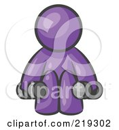 Clipart Illustration Of A Purple Man Lifting Dumbbells While Strength Training
