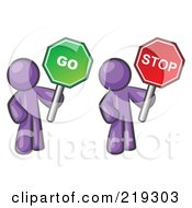 Clipart Illustration Of Purple Men Holding Red And Green Stop And Go Signs by Leo Blanchette