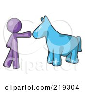 Purple Man Petting A Blue Horse by Leo Blanchette