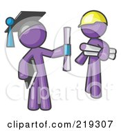 Royalty Free RF Clipart Illustration Of A Purple Man Graduate And Purple Man Contractor