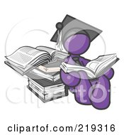 Clipart Illustration Of A Purple Male Student In A Graduation Cap Reading A Book And Leaning Against A Stack Of Books