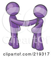 Clipart Illustration Of A Purple Man Wearing A Tie Shaking Hands With Another Upon Agreement Of A Business Deal