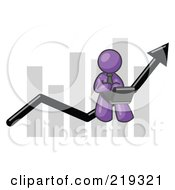 Clipart Illustration Of A Purple Man Using A Laptop Computer Riding The Increasing Arrow Line On A Business Chart Graph