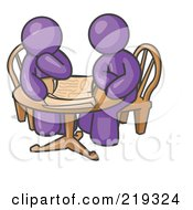 Clipart Illustration Of Two Purple Businessmen Sitting At A Table Discussing Papers