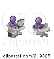 Clipart Illustration Of Two Purple Men Employees Working On Computers In An Office One Using A Desktop The Other Using A Laptop