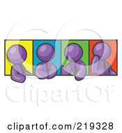 Four Purple Men In Different Poses Against Colorful Backgrounds Perhaps During A Meeting by Leo Blanchette
