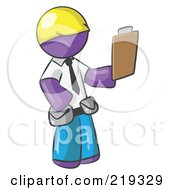 Purple Man Construction Site Supervisor Holding A Clipboard by Leo Blanchette
